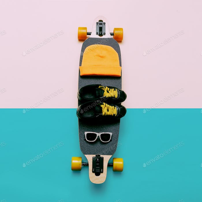 Skateboard, Sunglasses, Cap, Sneakers. Love Urban fashion. Minim