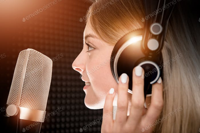 Female Voice Talent in Studio