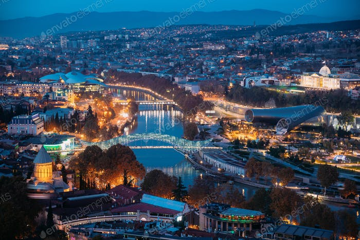 Tbilisi, Georgia. Aerial View Of Justice House, Bridge Of Peace,