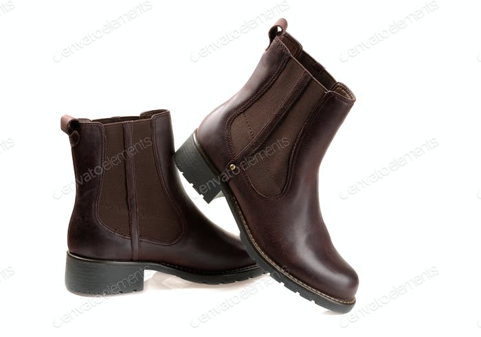 brown boots Isolated on white background