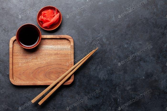 Wooden plate and chopsticks