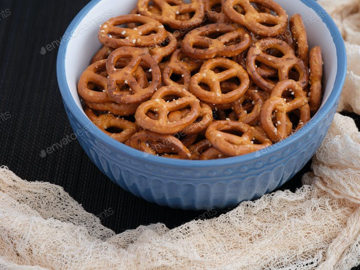 Salted mini pretzels in a bowl