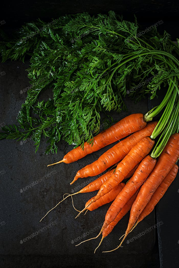 Bunch of fresh carrots with green leaves on  dark  background. Flat lay. Top view