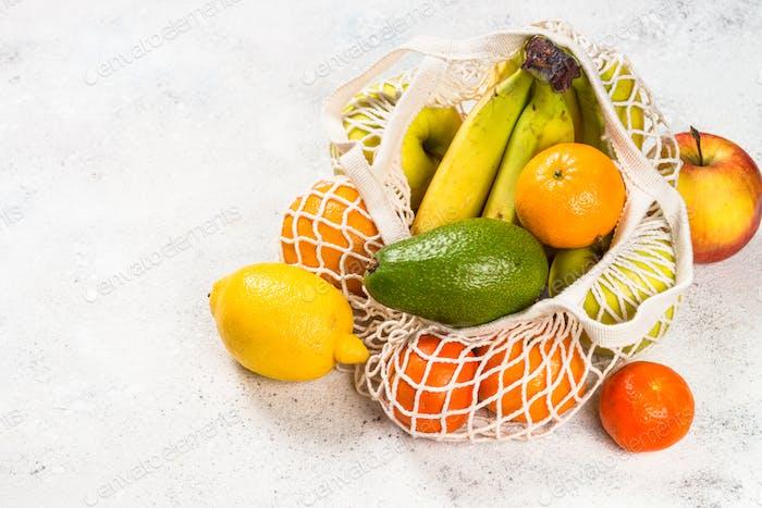 Mesh bag with fruits, zero waste shopping