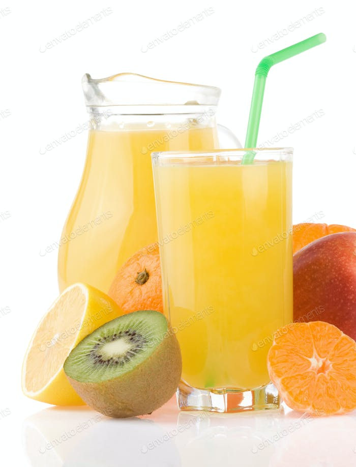 tropical fruits set and juice on white