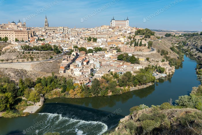 Toledo and the river Tagus in Spain