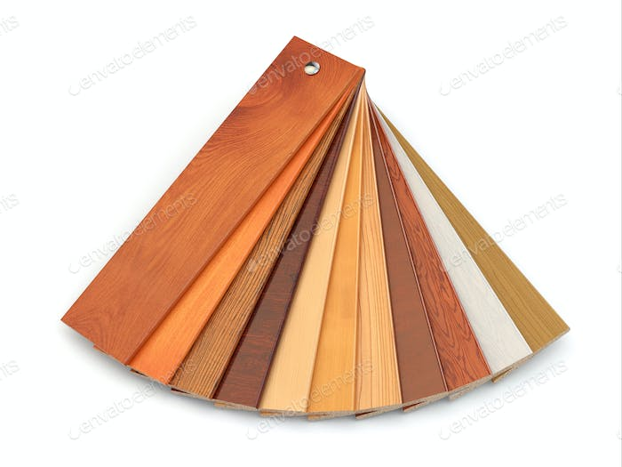 Flooring laminate or parqet samples.
