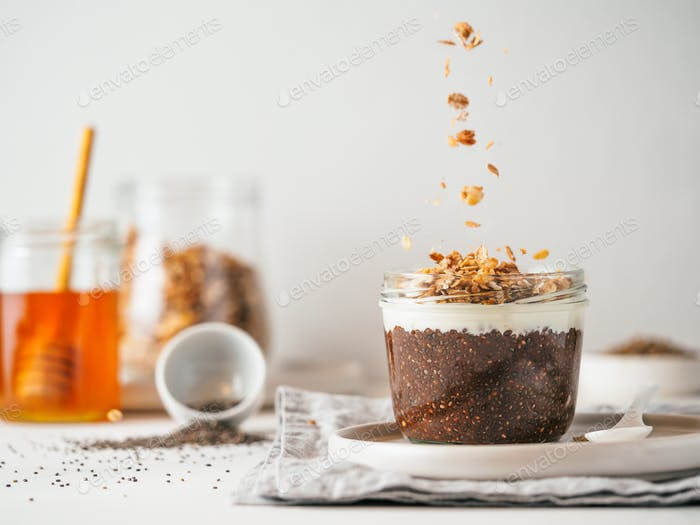 chocolate chia pudding, copy space