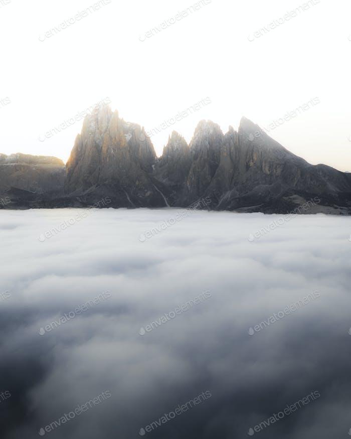 Misty mountain peaks
