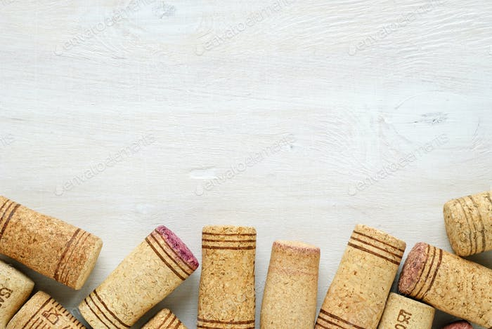 Wine bottle corks with copy space