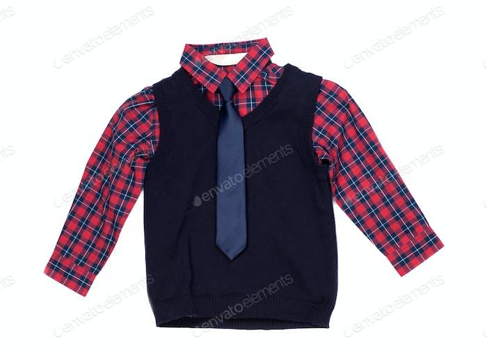 Camisa a cuadros con un chaleco y corbata, aislar