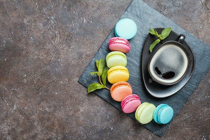 Colorful sweet macaroons
