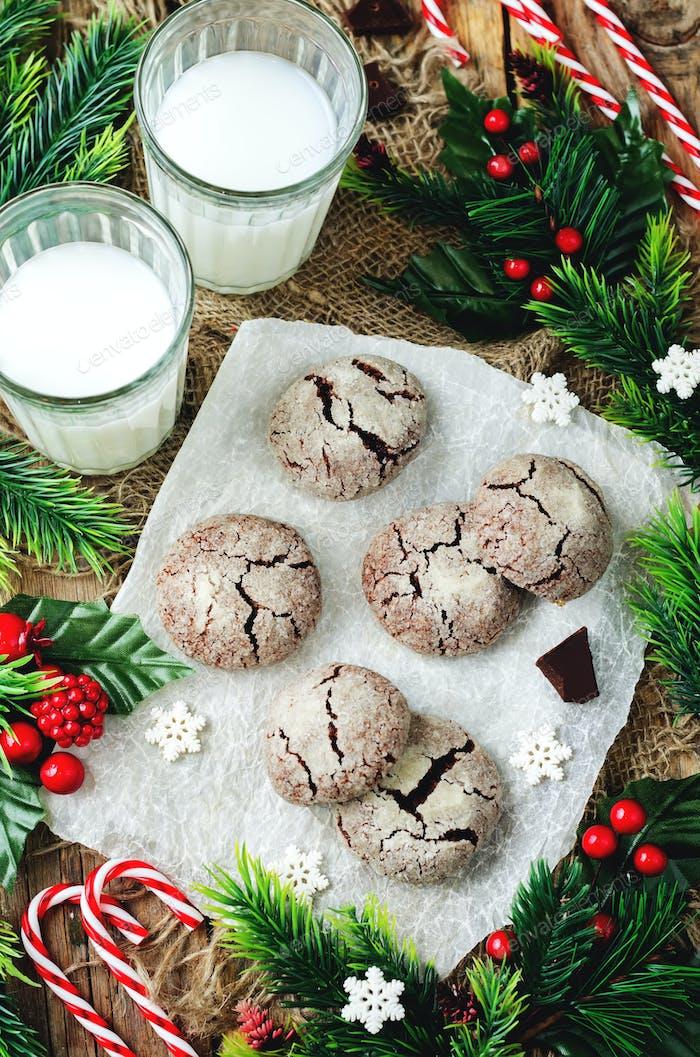 Chocolate Crinkle cookies for Christmas