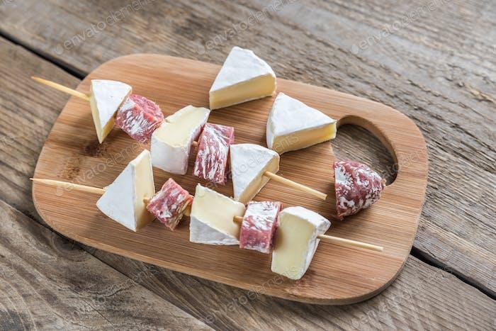 Camembert and salami  skewers