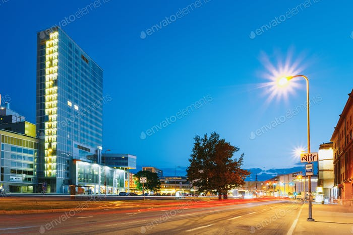 Tallinn, Estonia. Night View Of Modern Office Architecture Skysc