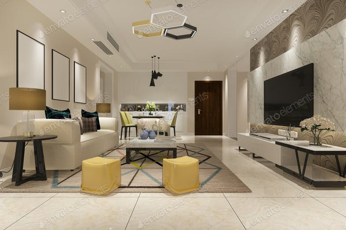 3d rendering vintage living room with kitchen