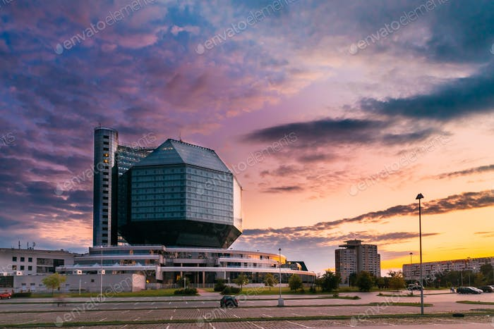 Minsk, Belarus. National Library Building In Summer Evening Suns