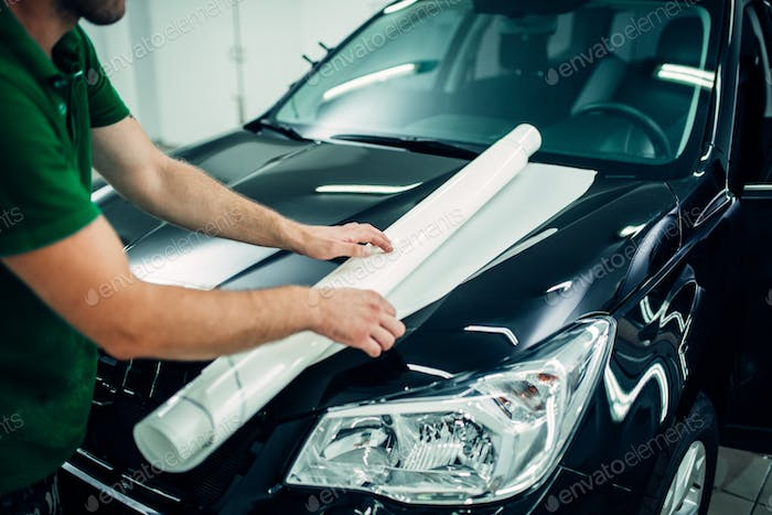 Paint protection film installation, hood protect