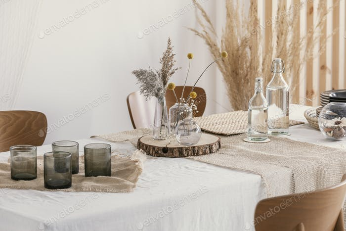 Close-up of natural simple decoration on the table