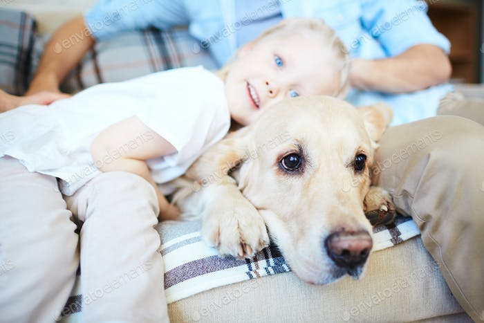 Child and labrador