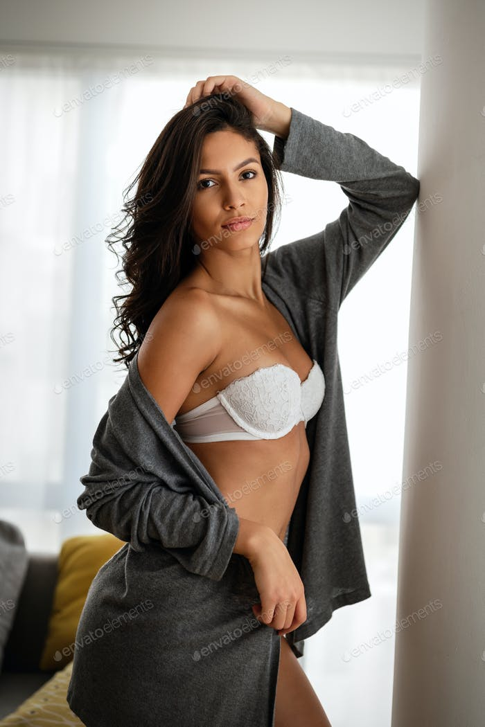 Sexy woman with perfect skin wearing stylish lingerie