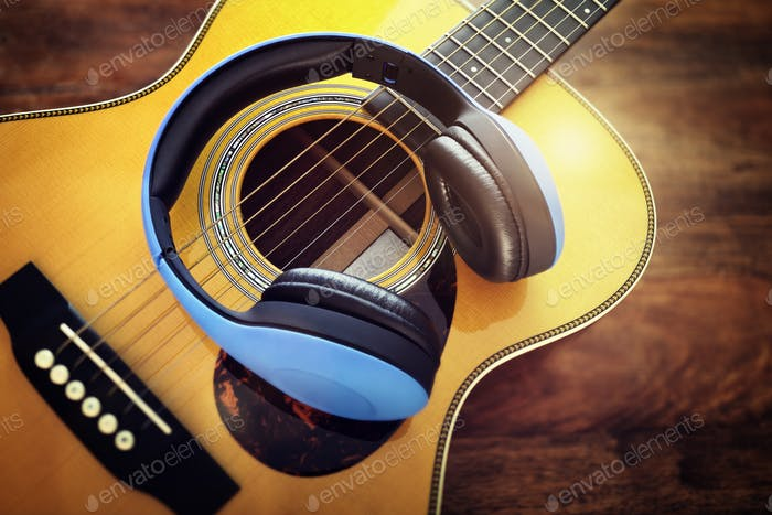 Guitar and headphones