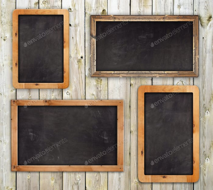 Chalkboards on the wood wall