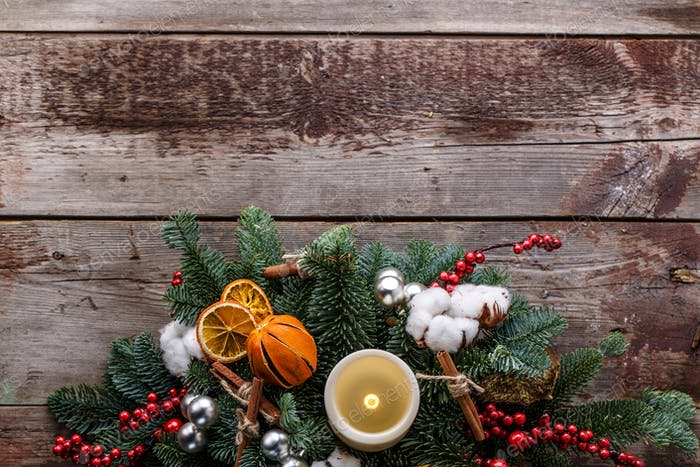 Top view christmas decoration background with copyspace