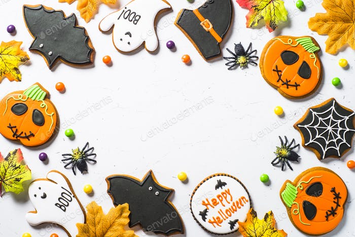 Halloween Gingerbread Cookies - pumpkin, ghosts, witch hat, spid