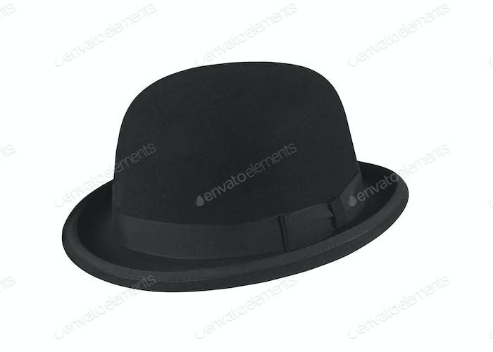Schwarzer Hut auf dem weißen Hintergrund