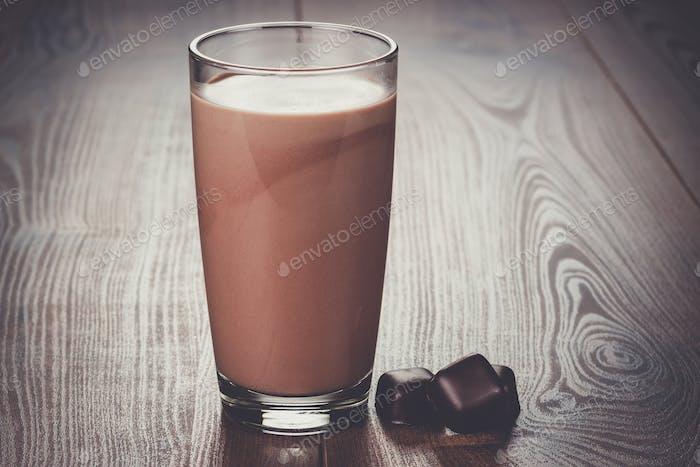 glass of chocolate milkshake