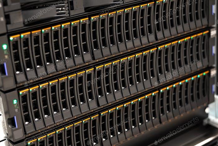 Large SAN Disk Cabinet In Rack At Datacenter
