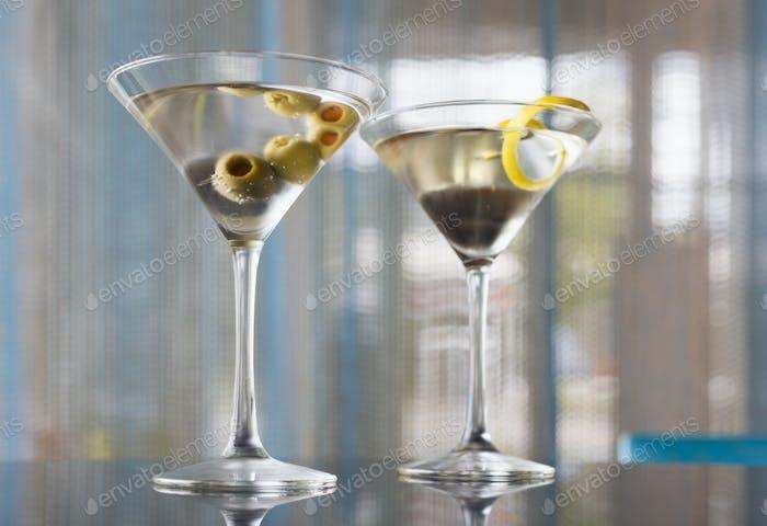 54279,Close up of garnished martinis