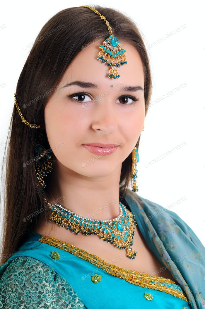 Portrait of beautiful girl in indian clothes