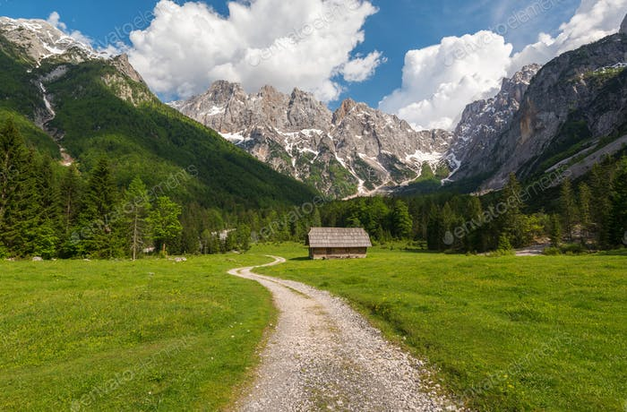 Beautiful scenery in the mountains of Julian Alps