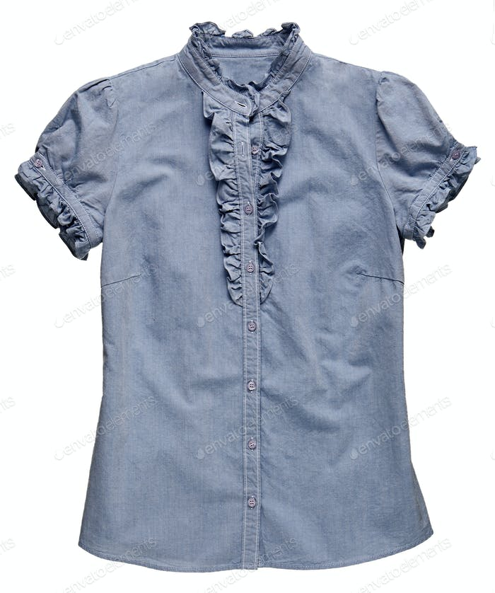 Blue denim fabric T-shirt with ruffle detail