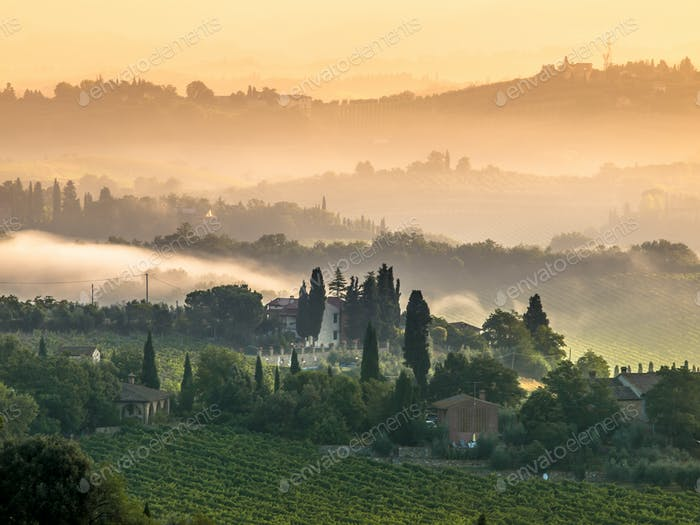 Tuscany Village Landscape on a Summer Morning