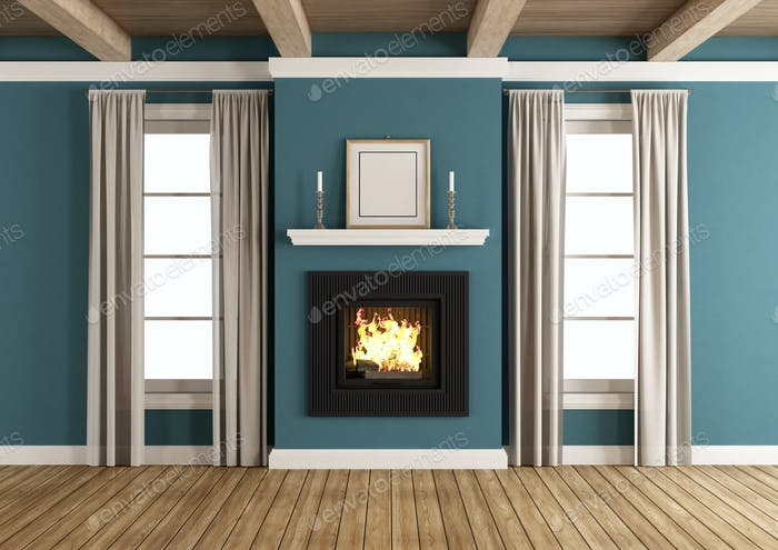 Fireplace in a classic room