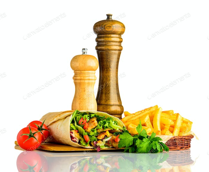 Shawarma with Fries Isolated on White Background