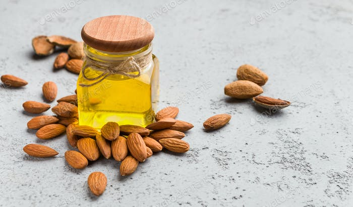 Almond oil for beauty and care concept