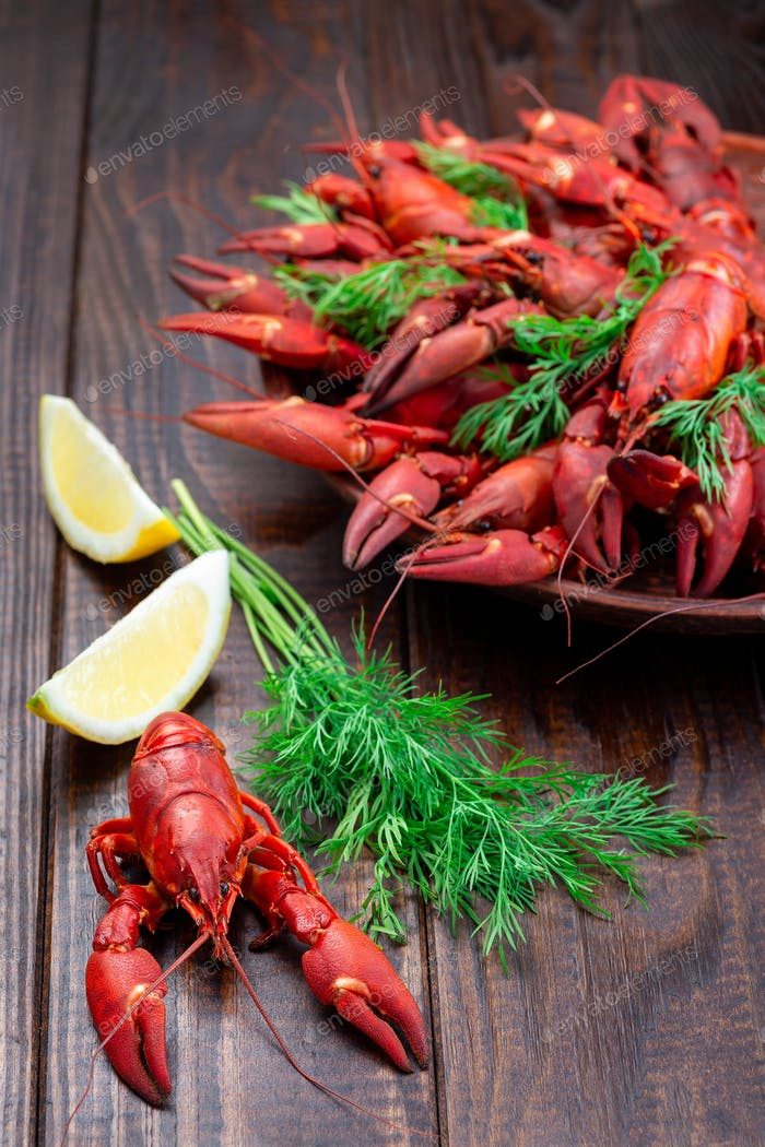 Red crayfishes on plate served with dill and lemon, dark wooden background, vertical