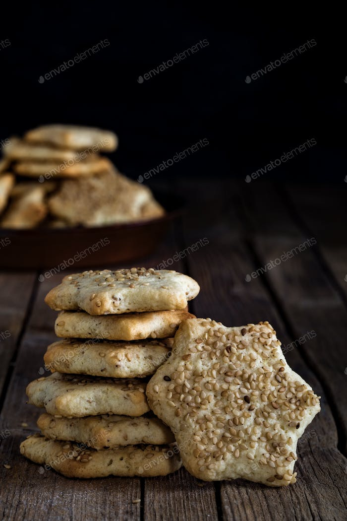 Star Shaped Biscuits With Sesame Seeds