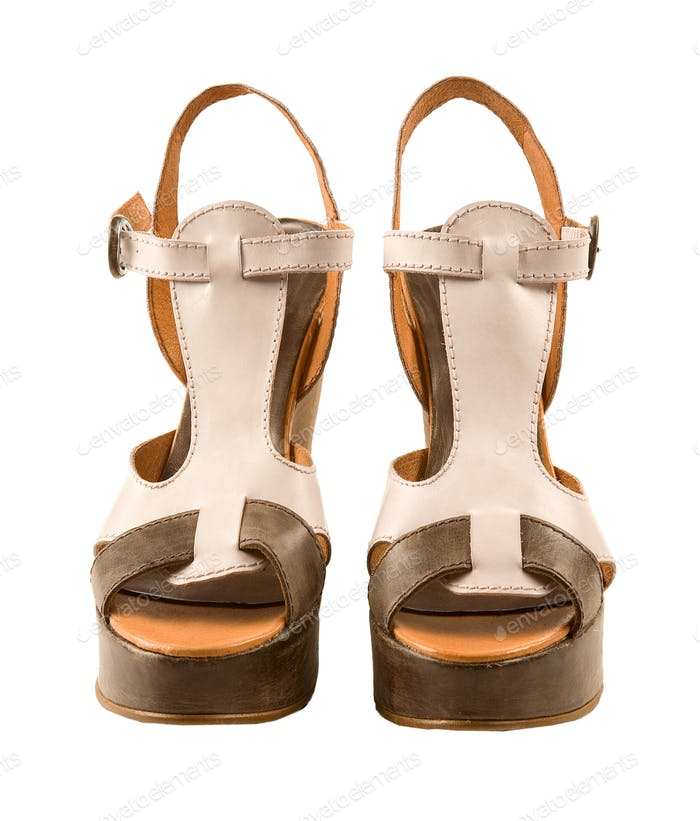 Peep toe leather sandals