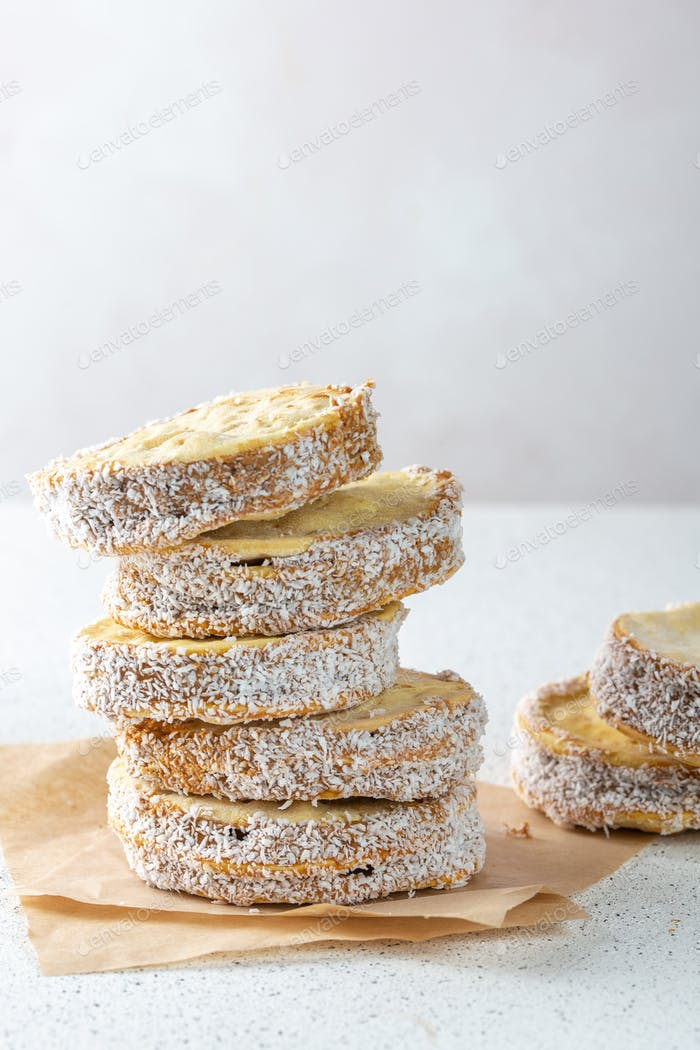 Alfajore cookies filled with caramel. Latin American dessert