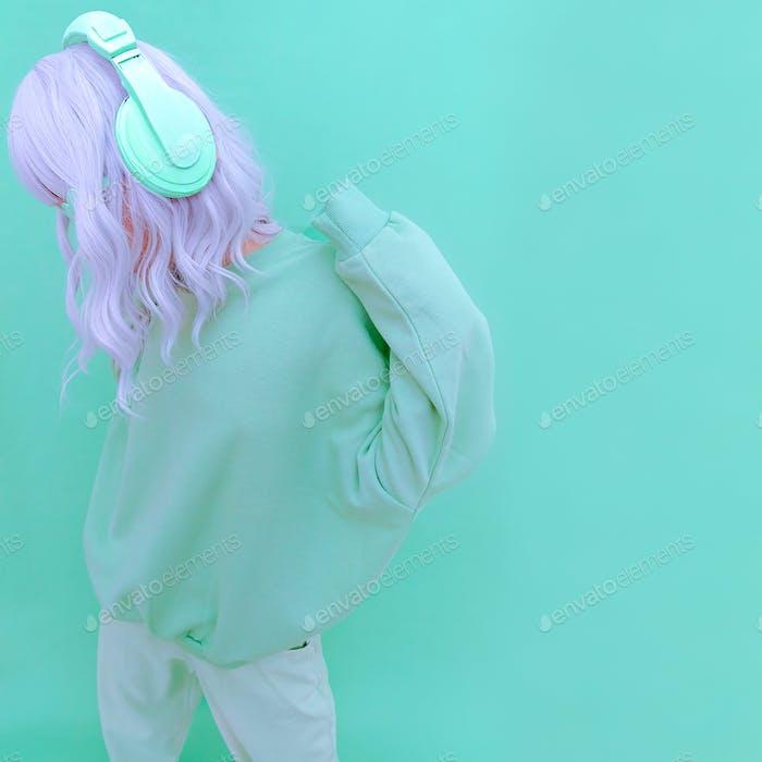 Fresh Mint Dj Lady Minimal aesthetic monochrome fashion design. Aqua menthe color trend