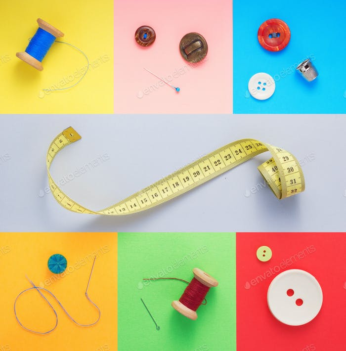 Thumbnail for sewing tools and accessories at paper background texture