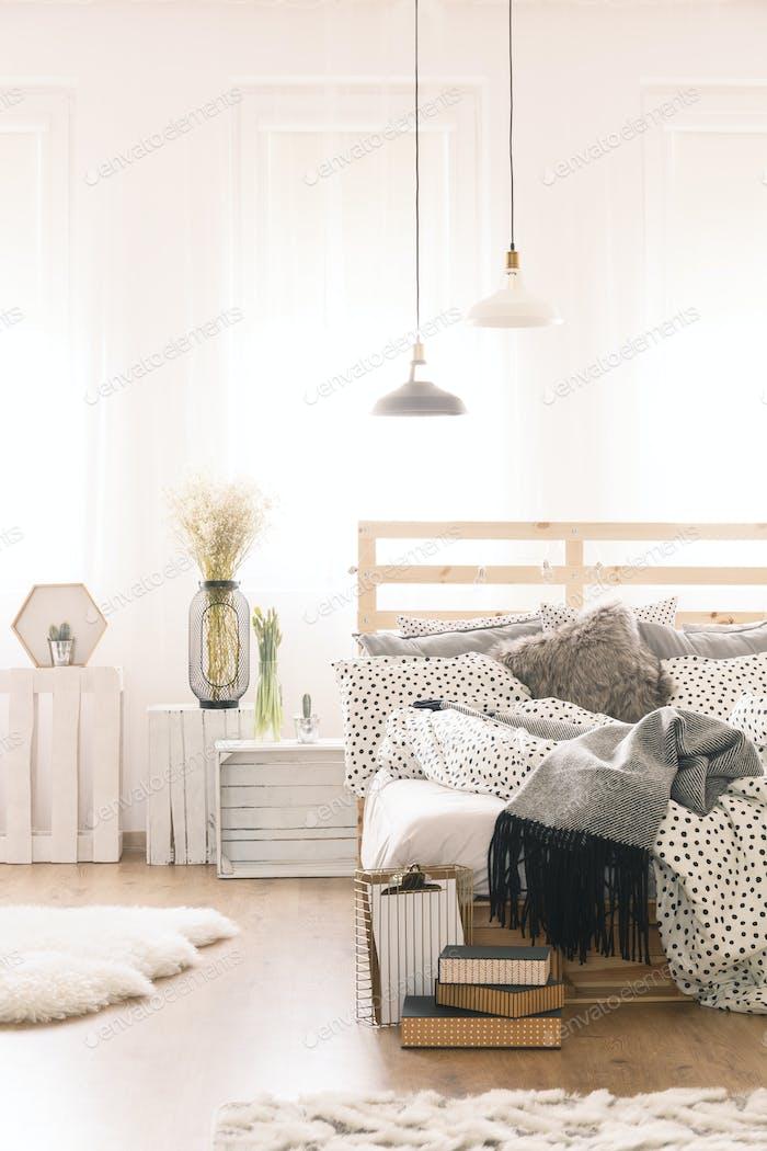 Bedroom with pallet furniture