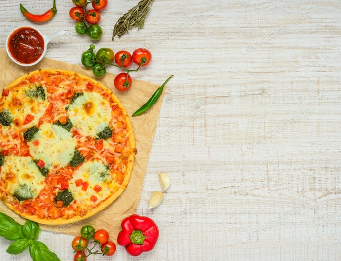 Baked Pizza with Ingredients on Copy Space Area