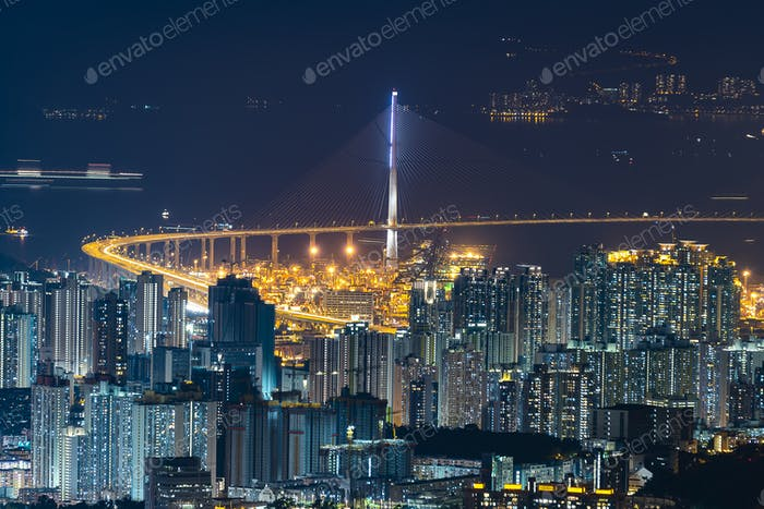 Night of Hong Kong cityscape, skyscraper in Hong Kong