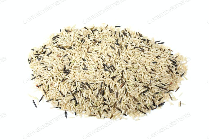 Pile of mixed (cultivated and wild) rice grains